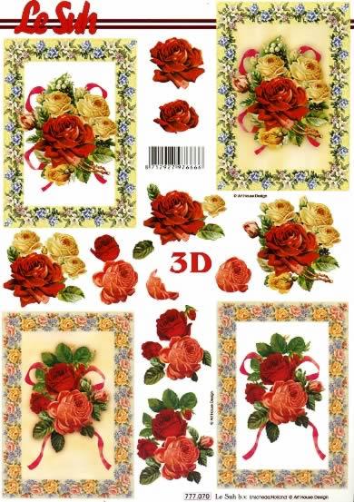 3D Bogen Rosen im Rahmen - Format A4,  Blumen - Rosen,  Le Suh,  3D Bogen,  Rosen