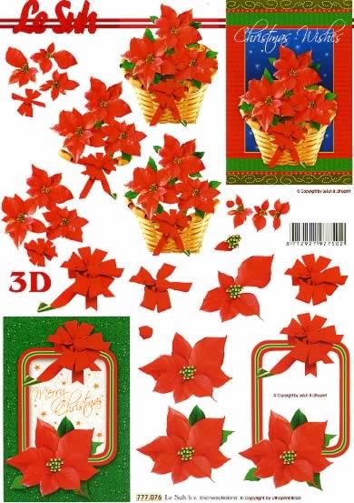 3D Bogen Weihnachtsblumen im Rahmen - Format A4,  Sonstiges - Schriften,  Le Suh,  3D Bogen,  Kartengestaltung,  Weihnachtsstern im Korb