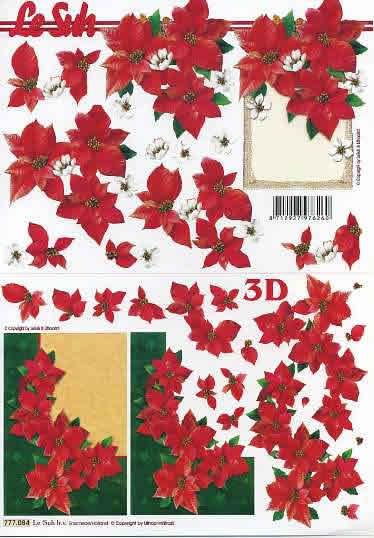 3D Bogen Weihnachtsblume im Rahmen - Format A4