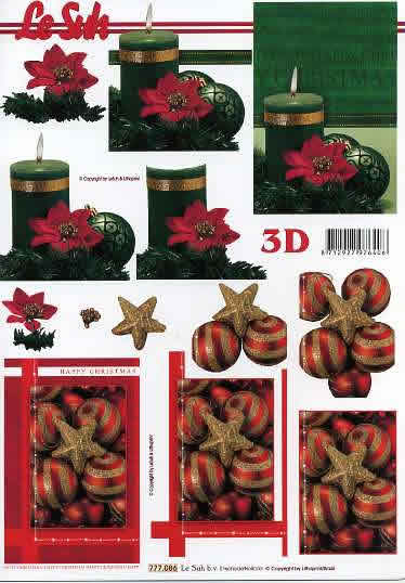 3D Bogen  - Format A4,  Weihnachten - Kerzen,  Le Suh,  3D Bogen,  Baumschmuck,  Kerzen,  Weihnachtsdeko