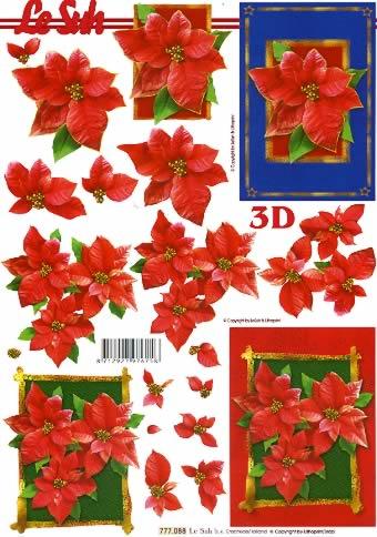 3D Bogen  - Format A4,  Blumen - Weihnachtsstern,  Le Suh,  3D Bogen,  Weihnachtsstern im Rahmen rot und blau