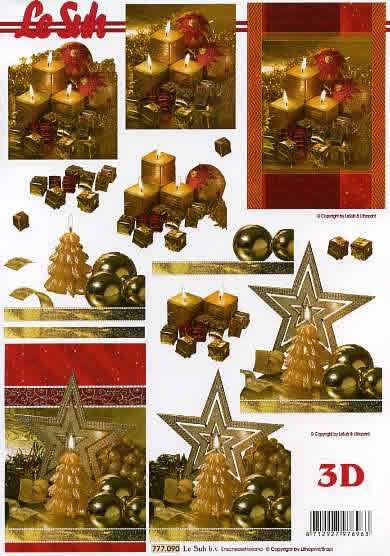 3D Bogen Weihnachtskerze - Format A4, Weihnachten - Kerzen,  Weihnachten - Weihnachtsstern,  Le Suh,  3D Bogen,  Sterne,  Kerzen