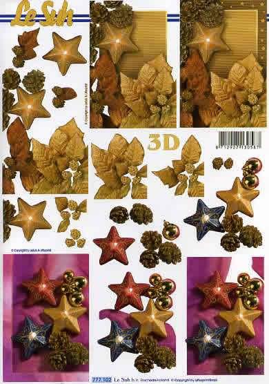 3D Bogen Weihnachtsschmuck - Format A4,  Weihnachten - Weihnachtsstern,  Le Suh,  3D Bogen,  Weihnachtsdeko in rot blau gold,  Sterne ,  Zapfen