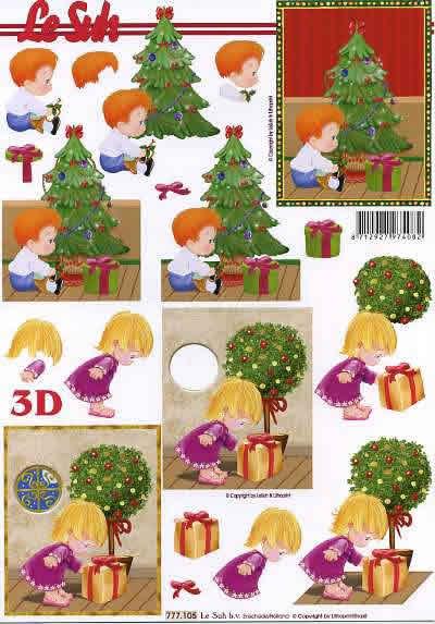 3D Bogen  - Format A4,  Weihnachten - Weihnachtsbaum,  Le Suh,  3D Bogen,  Junge und Mädchen am Weihnachtsbaum mit Geschenk
