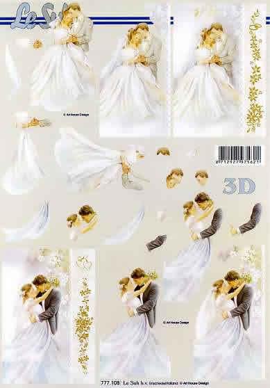 3D Bogen Brautpaar - Format A4,  Menschen - Personen,  Le Suh,  3D Bogen,  Brautpaar