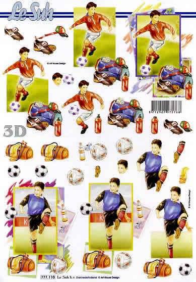 3D Bogen Format A4 Fussball,  Sport - Fußball,  Le Suh,  3D Bogen,  Fußball