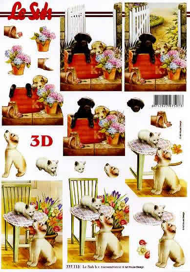 3D Bogen  - Format A4,  Tiere - Hunde,  Le Suh,  3D Bogen,  Hunde