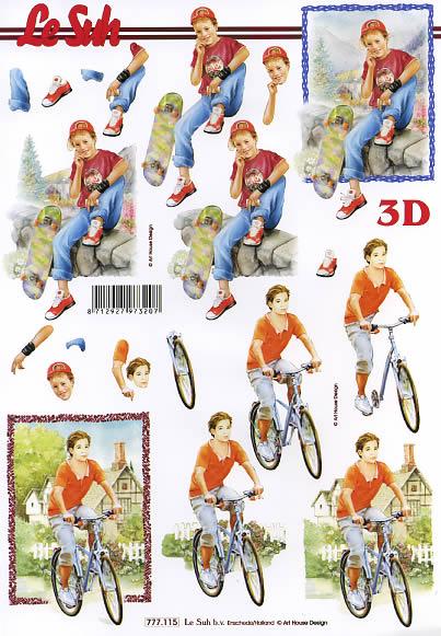 3D Bogen  - Format A4,  Fahrzeuge - Fahrräder,  Le Suh,  3D Bogen,  Radfahren,  Skaten