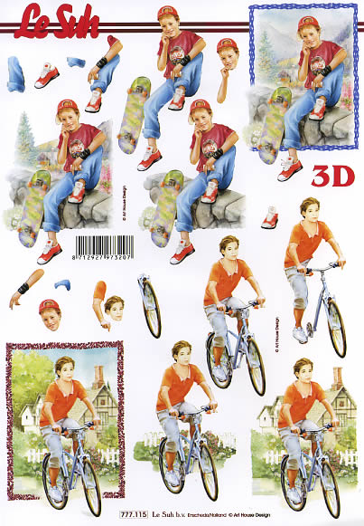 3D Bogen Junge auf Fahrrad - Format A4,  Fahrzeuge - Fahrräder,  Le Suh,  3D Bogen,  Radfahren,  Skaten