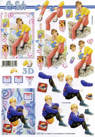 3D Bogen Format A4 - Junge und Mädchen