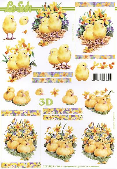 3D Bogen  - Format A4,  Tiere - Kücken,  Le Suh,  3D Bogen,  Küken,  Narzissen