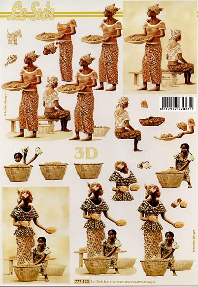 3D Bogen Afrikaner Frauen - Format A4,  Menschen - Personen,  Le Suh,  3D Bogen,  Negerin