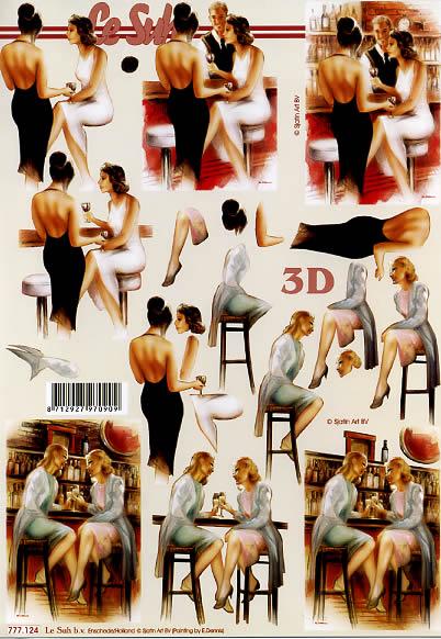 3D Bogen Damen in der Bar/ Cafe - Format A4