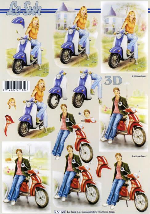 3D Bogen Mädchen am Roller Format A4, Fahrzeuge - Moped / Motorrad,  Menschen - Personen,  Le Suh,  3D Bogen,  Mädchen,  Jungen