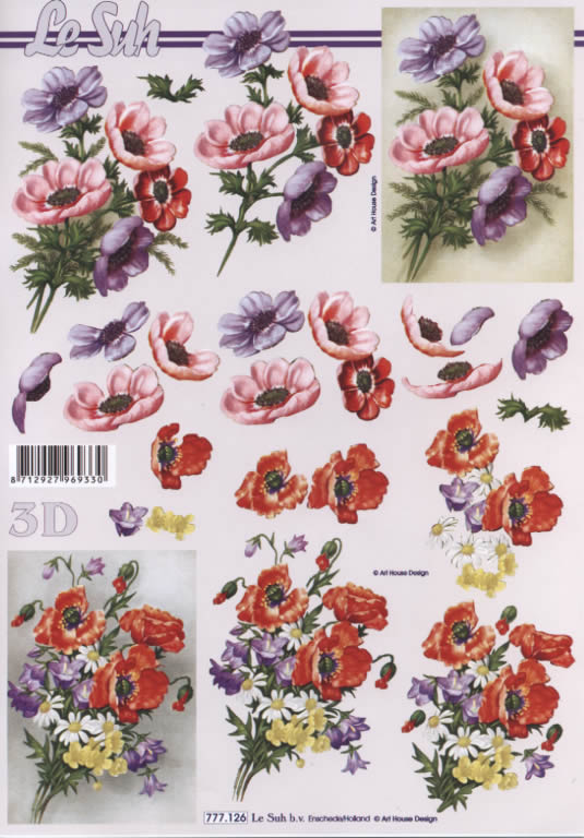3D Bogen  - Format A4,  Blumen -  Sonstige,  Le Suh,  3D Bogen,  Mohnblumen,  Blumen