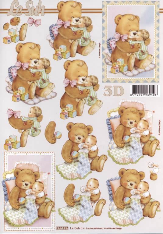 3D Bogen  - Format A4,  Ereignisse -  Sonstige,  Le Suh,  3D Bogen,  Bär am Kuscheln mit Baby,  Bär spielt mit Kind,  Spielsachen