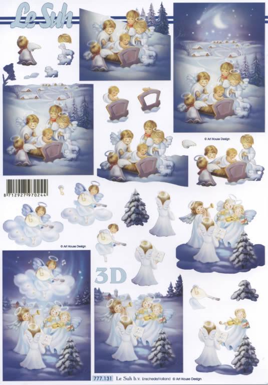 3D Bogen  - Format A4,  Weihnachten - Engel,  Le Suh,  3D Bogen,  Engel