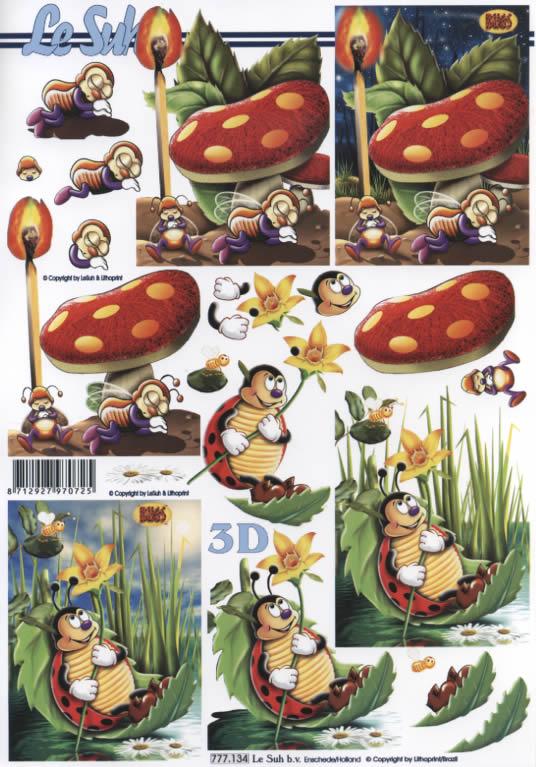 3D Bogen  - Format A4, Früchte - Pilze,  Tiere - Marienkäfer,  Le Suh,  3D Bogen,  Pilze,  Blumen,  Marienkäfer