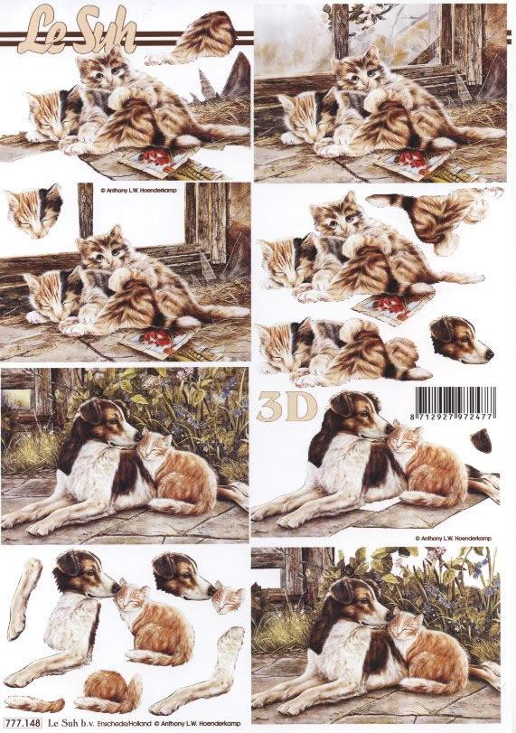 3D Bogen Katze und Hund - Format A4,  Tiere - Hunde,  Le Suh,  3D Bogen