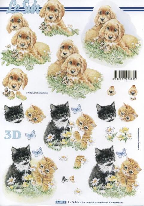 3D Bogen Format A4 - Hunde und Katzen, Tiere - Hunde,  Tiere - Katzen,  Le Suh,  3D Bogen,  Katzen,  Hunde