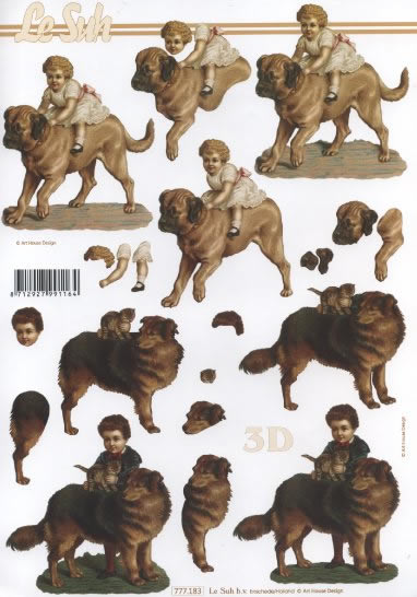 3D Bogen  - Format A4,  Tiere - Hunde,  Le Suh,  3D Bogen
