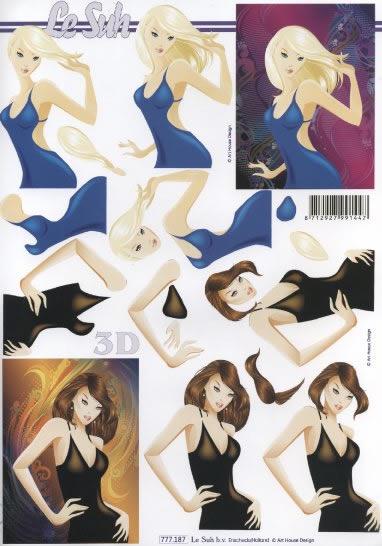 3D Bogen  - Format A4,  Menschen - Personen,  Le Suh,  3D Bogen,  Frau
