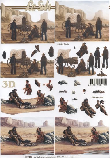 3D Bogen Format A4 Cowboys + Indianer, Regionen - Länder - USA,  Menschen - Personen,  Le Suh,  3D Bogen
