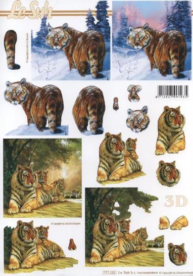 3D Bogen 2x Tiger Format A4,  Tiere - Tiger,  Le Suh,  3D Bogen,  Tiger