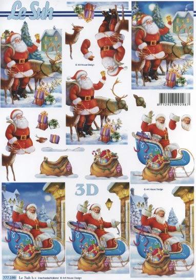3D Bogen  - Format A4, Winter - Schlitten,  Weihnachten - Weihnachtsmann,  Le Suh,  3D Bogen,  Weihnachtsmann,  Schlitten