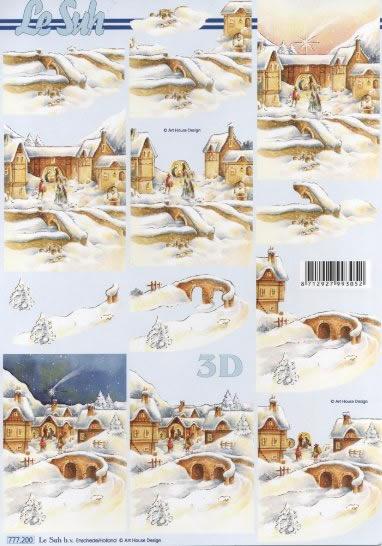 3D Bogen Format A4,  Winter - Schnee,  Le Suh,  3D Bogen,  Häuser,  Winterlandschaft