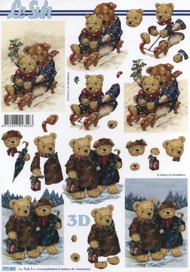 3D Bogen  - Format A4, Winter - Schlitten,  Spielsachen - Stofftiere,  Le Suh,  3D Bogen,  Teddybär,  Schlitten