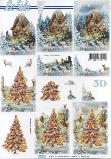 3D Bogen  - Format A4,  Weihnachten - Weihnachtsbaum,  Le Suh,  3D Bogen
