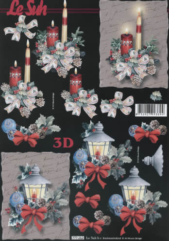 3D Bogen Weihnachtsstrauss - Format A4,  Weihnachten - Kerzen,  Le Suh,  Weihnachten,  3D Bogen,  Laternen,  Schleifen,  Gestecke