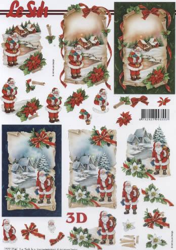 3D Bogen Weihnachtsmann - Format A4,  Weihnachten - Weihnachtsstern,  Le Suh,  3D Bogen