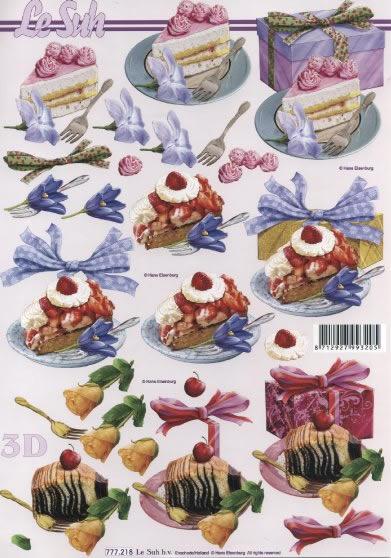 3D Bogen Gebäck rosa - Format A4,  Essen - Kuchen / Keks,  Le Suh,  3D Bogen