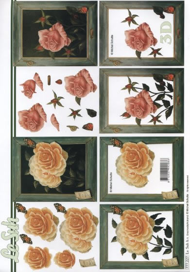 3D Bogen  - Format A4,  Blumen - Rosen,  Le Suh,  3D Bogen,  Rosen
