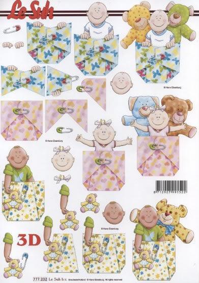 3D Bogen  - Format A4, Menschen - Babys,  Ereignisse - Geburt,  Le Suh,  3D Bogen,  Baby,  Geburt