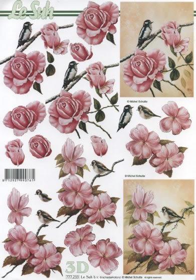 3D Bogen Rosen mit Vogel rosa - Format A4,  Blumen - Rosen,  3D Bogen