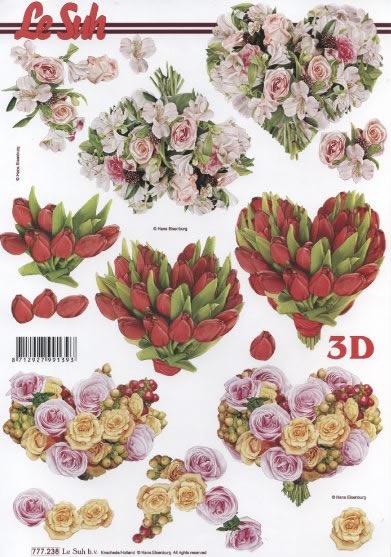 3D Bogen 3 Blumenherzen - Format A4, Blumen - Tulpen,  Blumen - Rosen,  Le Suh,  3D Bogen,  Tulpen,  Rosen