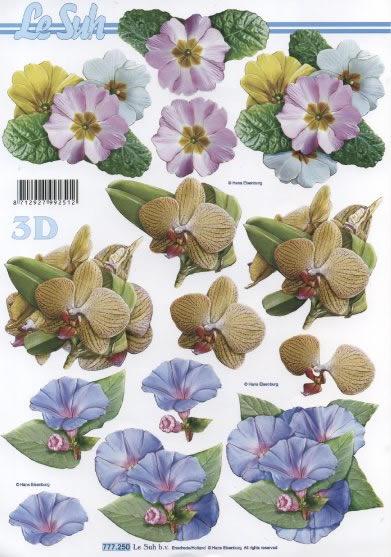 3D Bogen 3x Blumen rosa+hellblau+gelb - Format A4,  Blumen - Primeln,  3D Bogen