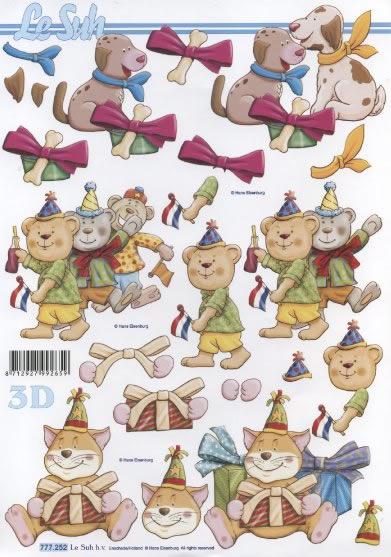 3D Bogen 3x Partytiere - Format A4,  Spielsachen - Stofftiere,  3D Bogen