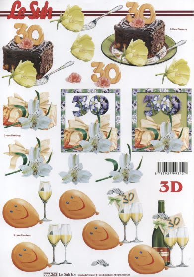 3D Bogen  - Format A4,  Ereignisse - Geburtstag,  Le Suh,  3D Bogen,  Geburtstag,  30,  Kuchen,  Luftballon