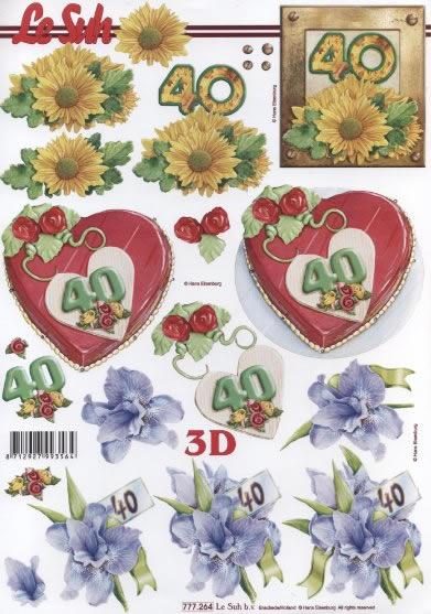 3D Bogen Jubiläum 40 Jahre Format A4,  Ereignisse - Geburtstag,  Le Suh,  3D Bogen,  Geburtstag,  Torte,  40