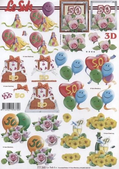 3D Bogen  - Format A4,  Ereignisse - Geburtstag,  Le Suh,  3D Bogen,  Geburtstag,  Luftballon,  Rosen,  50