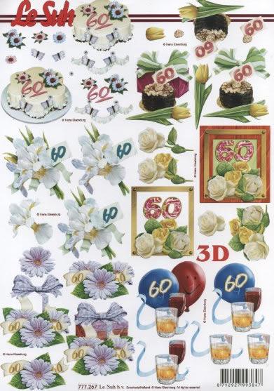 3D Bogen  - Format A4,  Ereignisse - Geburtstag,  Le Suh,  3D Bogen,  Geburtstag,  Torte,  Torte,  60