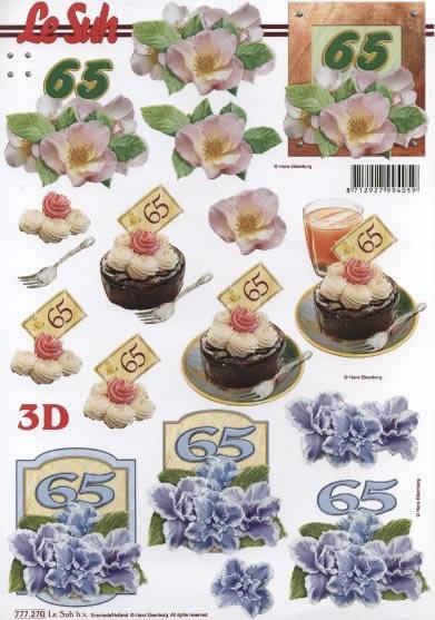 3D Bogen Jubiläum 65 Jahre Format A4 -,  Ereignisse - Geburtstag,  Le Suh,  3D Bogen,  Geburtstag,  Torte,  65