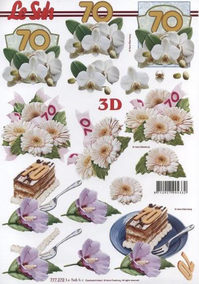 3D Bogen  - Format A4,  Ereignisse - Geburtstag,  Le Suh,  3D Bogen,  Geburtstag,  Torte,  70