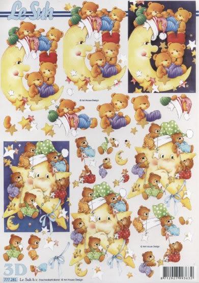 3D Bogen Format A4,  Spielsachen - Stofftiere,  Le Suh,  3D Bogen,  Teddybär,  Mond,  Baby