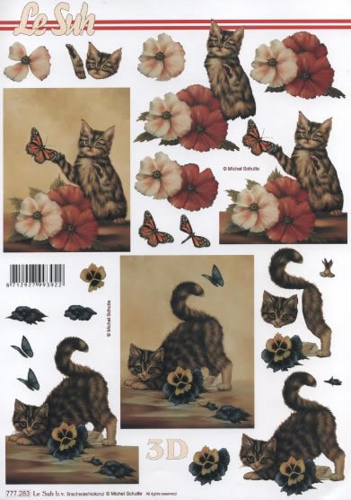 3D Bogen Kätzchen-2- - Format A4,  Tiere - Katzen,  3D Bogen