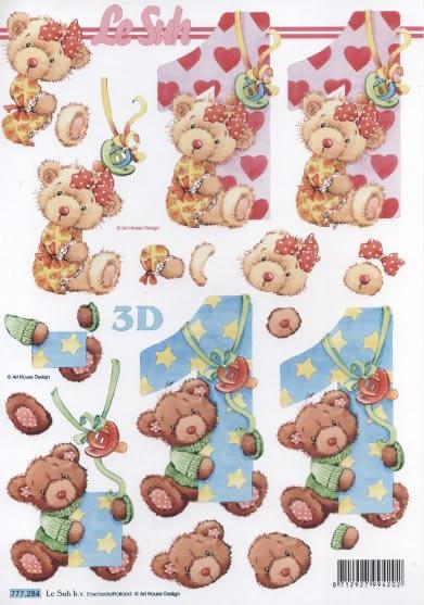 3D Bogen 1 Jahr Format A4,  Spielsachen - Stofftiere,  Le Suh,  3D Bogen,  Herzen,  Teddybär